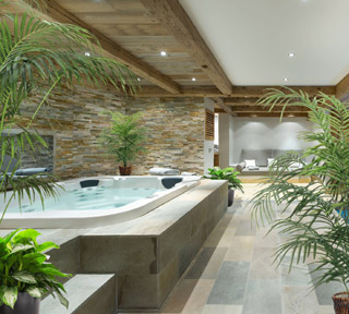 Home spa with plant decor